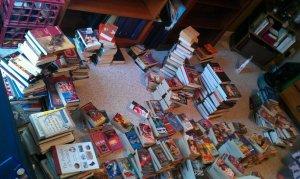 couple hundred books on the floor