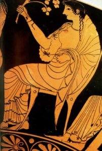 Hestia on a red figure vase