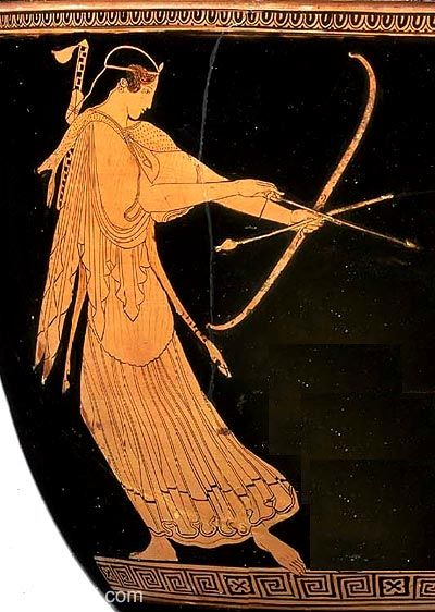 Artemis with Bow, figure vase